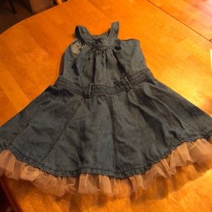 Girls 5t denim dress with tulle